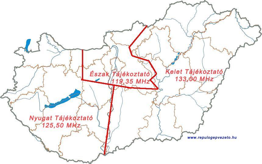 Magyarországi repülési tájékoztató körzet frekvenciái észak 119,35 nyugat 125,50 kelet 133,00