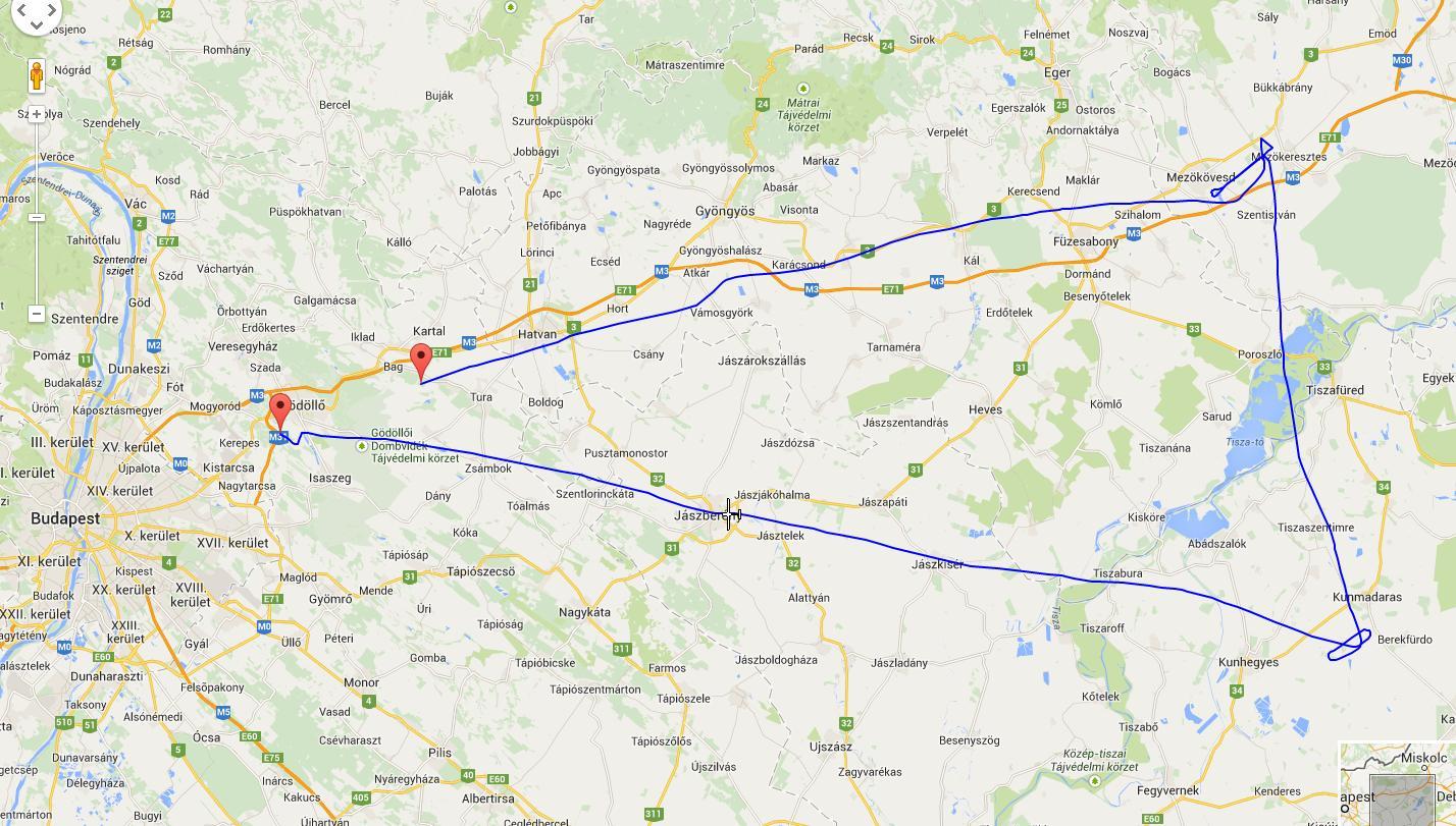 Mezőkövesd - Kunmadaras katonai repülőtér sétarepülés útvonala